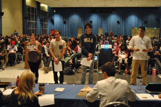 Avinoam Baral (white shirt back to the camera) at the UCLA Divestment hearing. Photo Credit: LA Jewish Journal