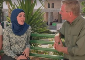 Screenshot from Rick Steves' travelogue to the Palestinian controlled areas and Israel